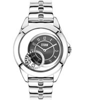 47219-BK Crystaco 39mm Ladies Quartz watch with floating Crystals