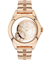 47219-RG Crystaco 39mm Ladies Quartz watch with floating Crystals