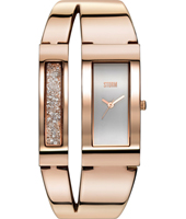 47162-RG Duelle 34mm Rectangular Bangle Watch with loose Crystals